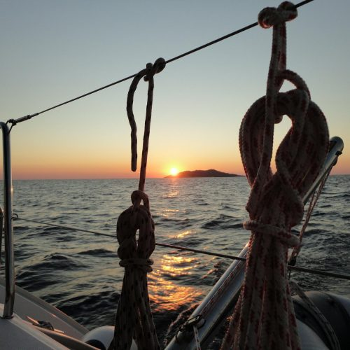 Night sailing from Split