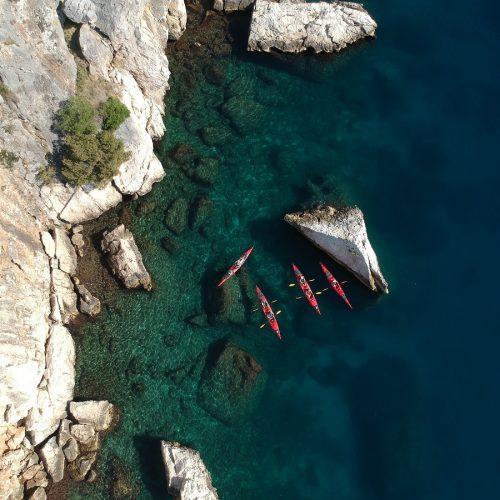 Sea kayaking on island Čiovo from Split